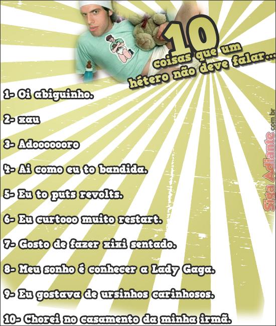 10 coisas que um hetero não deve fazer