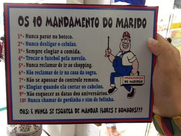 Os 10 mandamentos do marido.