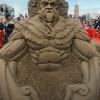 Netuno esculpido na areia...