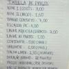 Tabela de Preços do Bar da Tonha!