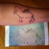 Tatuou o desenho do filho...